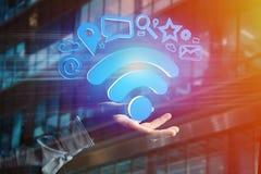 de verbinding van het wifisymbool door multimedia en Internet dat app wordt omringd Stock Afbeelding