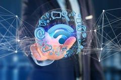 de verbinding van het wifisymbool door multimedia en Internet dat app wordt omringd Royalty-vrije Stock Afbeelding