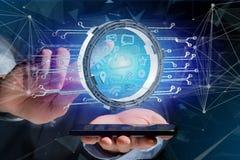 De verbinding van het wolkensymbool door multimedia en Internet- datap wordt omringd Stock Fotografie