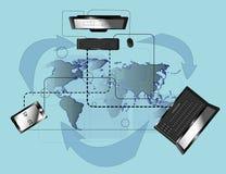 De verbinding van moderne technologie in de wereld Stock Afbeeldingen