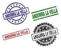 De Verbindingszegels van La VELLA van Grunge Geweven ANDORRA vector illustratie