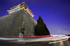 De verboden Stad bij nacht Stock Foto's