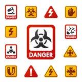 De verbodstekens plaatsen de industrieproductie vector geel rood waarschuwingsgevaarsymbool verboden veiligheidsinformatie vector illustratie