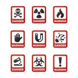 De verbodstekens plaatsen de industrieproductie vector geel rood waarschuwingsgevaarsymbool verboden veiligheidsinformatie stock illustratie