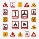 De verbodstekens plaatsen de industrieproductie vector geel rood waarschuwingsgevaarsymbool verboden veiligheidsinformatie royalty-vrije illustratie