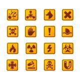 De verbodstekens plaatsen de industrieproductie vector geel rood waarschuwingsgevaarsymbool verboden veiligheidsinformatie en royalty-vrije illustratie