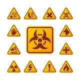 De verbodstekens plaatsen de industrieproductie vector geel rood waarschuwingsgevaarsymbool verboden veiligheidsinformatie en stock illustratie