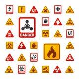 De verbodstekens plaatsen de industrieproductie vector geel rood waarschuwingsgevaarsymbool verboden veiligheidsinformatie en vector illustratie