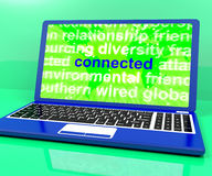 De verbonden Definitie op Laptop toont online Royalty-vrije Stock Afbeeldingen
