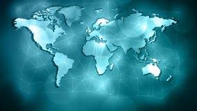 De verbonden het virusaanval van het wereldnetwerk, lijnen van de driehoeksvorm en punten stock foto