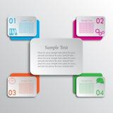 De verbonden rechthoeken kruisen vier infographic opties Stock Foto