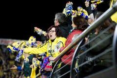 De verdedigers bij de Europa Ligahalve finale passen tussen Villarreal CF en Liverpool FC aan Stock Fotografie