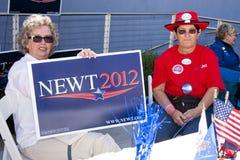 De Verdedigers van Gingrich van Newt bij Debat GOP Stock Foto's