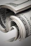 De verdraaide dollars van Verenigde Staten Honderd USD-bankbiljetten Royalty-vrije Stock Fotografie