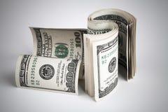 De verdraaide dollars van Verenigde Staten USD Bankbiljetten Stock Foto