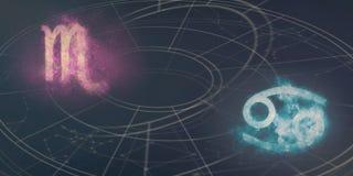 De verenigbaarheid van de horoscooptekens van Schorpioen en van Kanker Nachthemel Abst royalty-vrije illustratie