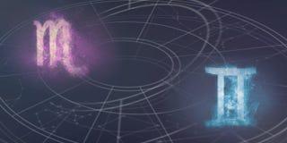 De verenigbaarheid van de horoscooptekens van Schorpioen en van Tweeling Nachthemel Abst stock illustratie