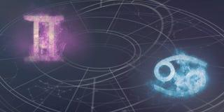 De verenigbaarheid van de horoscooptekens van Tweeling en van Kanker De Samenvatting van de nachthemel vector illustratie