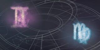 De verenigbaarheid van de horoscooptekens van Tweeling en van de Maagd Nachthemel Abstra vector illustratie