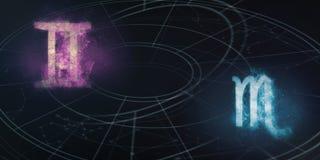 De verenigbaarheid van de horoscooptekens van Tweeling en van Schorpioen Nachthemel Abst stock illustratie
