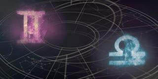 De verenigbaarheid van de horoscooptekens van Tweeling en van de Weegschaal Nachthemel Abstra royalty-vrije illustratie