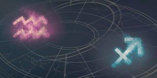 De verenigbaarheid van de horoscooptekens van Waterman en van de Boogschutter Nacht sk vector illustratie
