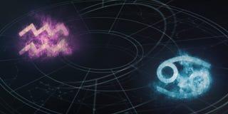 De verenigbaarheid van de horoscooptekens van Waterman en van Kanker Abs van de nachthemel vector illustratie