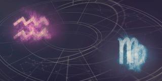De verenigbaarheid van de horoscooptekens van Waterman en van de Maagd Nachthemel Abst vector illustratie