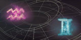De verenigbaarheid van de horoscooptekens van Waterman en van Tweeling Abs van de nachthemel stock illustratie