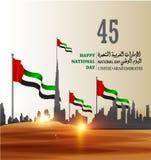 De verenigde Arabische Nationale Dag van de V.A.E van Emiraten met een inschrijving in Arabische vertaling royalty-vrije stock foto's