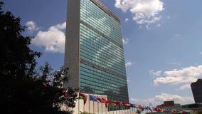 De Verenigde Naties die de Stad van New York inbouwen stock footage