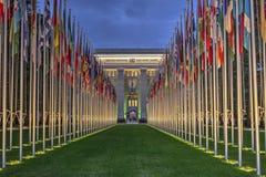 De Verenigde Naties, Genève, Zwitserland, HDR Royalty-vrije Stock Afbeeldingen