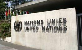 De Verenigde Naties im Genève: ingang Royalty-vrije Stock Foto