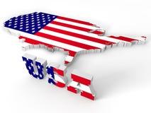 De Verenigde Staten van Amerika, 3d land van de V.S. Royalty-vrije Stock Foto