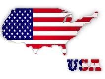 De Verenigde Staten van Amerika, 3d land van de V.S. Stock Afbeeldingen
