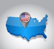 De Verenigde Staten van Amerika, de kaart van de V.S. en vlag Stock Foto's