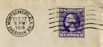 De Verenigde Staten van Amerika - 22 Dec 1918: Amerikaanse historische zegel: drie centen met George Washington met zwarte inkt p royalty-vrije stock foto