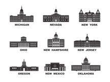 De Verenigde Staten van Amerika Vectorinzameling van de stad van Verenigde Staten royalty-vrije illustratie