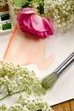 De verf en de borstel van de waterverf stock afbeeldingen