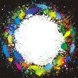 De verf van de kleur bespat grens. Vector achtergrond Stock Afbeelding
