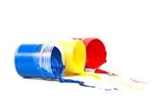 De verf van de kleur op een witte achtergrond. Stock Fotografie