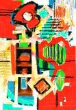 De verf van de kunst en van de collage en samenvatting en kleur Stock Foto's