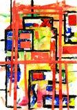 De verf van de kunst en van de collage en samenvatting en kleur Stock Foto