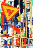 De verf van de kunst en van de collage en samenvatting en kleur Royalty-vrije Stock Afbeeldingen
