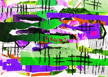 De verf van de kunst en van de collage en samenvatting en kleur Royalty-vrije Stock Afbeelding