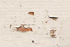 De verf van de schil over bakstenen muur stock afbeelding