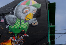 De verf van de straatkunst op muur in Bangkok Royalty-vrije Stock Foto's