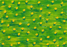 De verf van de waterverf. de zomer bloemen op groene weide Royalty-vrije Stock Afbeelding