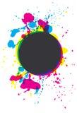 De verf van Grunge CMYK ploetert cirkel Stock Foto's