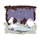 De Verf van het de winterlandschap Royalty-vrije Stock Foto